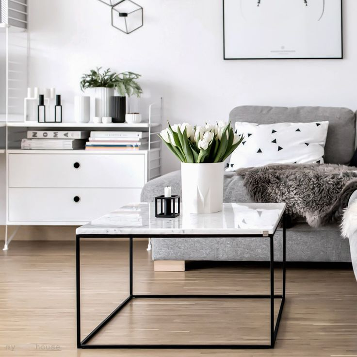Scandinavian living room, marble coffee table