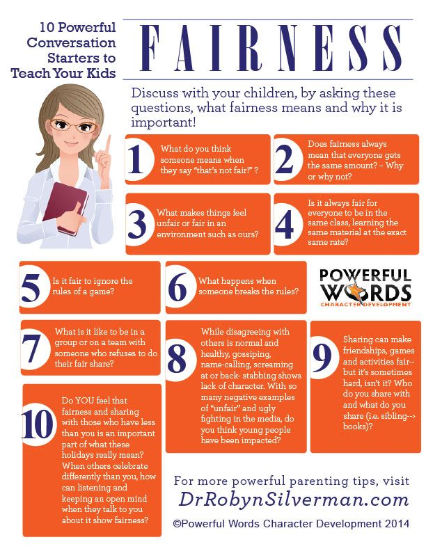 Great infographic about how to start conversations with your kids about fairness! http://menloparkmartialarts.com