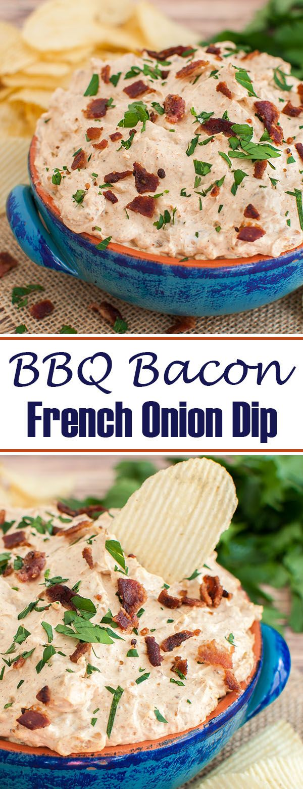 Easy homemade french onion dip with a twist. Made with cream cheese, this BBQ Bacon French Onion Dip will be a great appetizer for your next party. Perfect chip dip for a football party or game day tailgate.