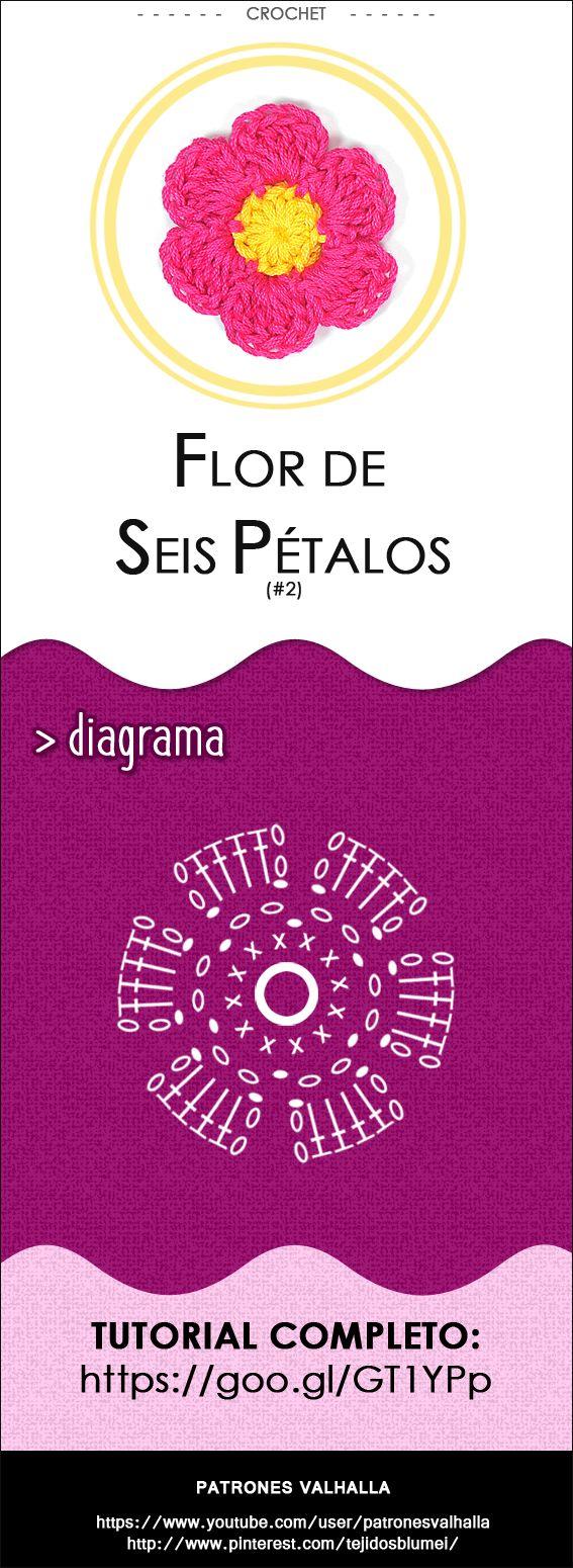 #Flor de Seis Pétalos a #Crochet 2 | #PatronesValhalla