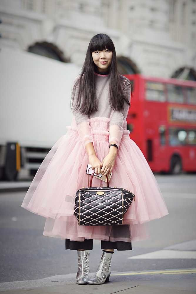 ELLE loves... Street Style fashion inspiration from London Fashion Week. Here Susie Lau wears a pink tutu style dress with metallic silver ankle boots and a Louis Vuitton handbag.