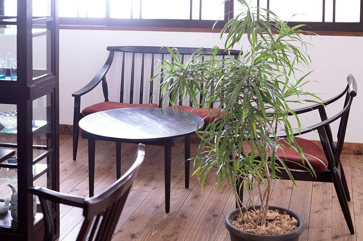 昭和レトロ 古い木製のラウンドセンターテーブル(ちゃぶ台)(1)