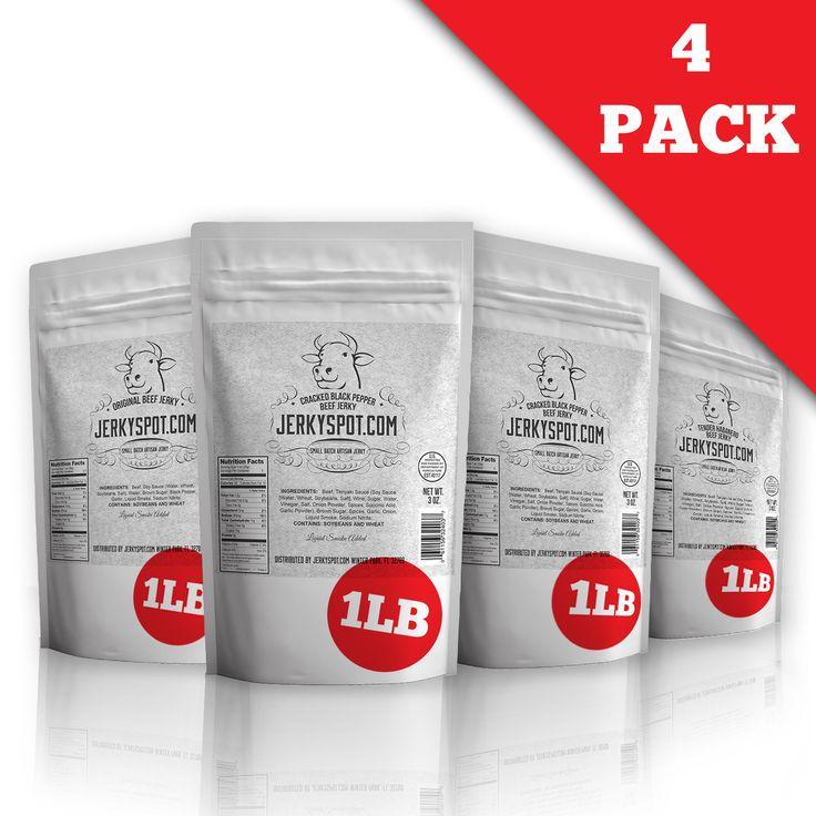 JerkySpot™ Beef Jerky Hungry Man 1lb Bag Sampler (Almost 4LBS)