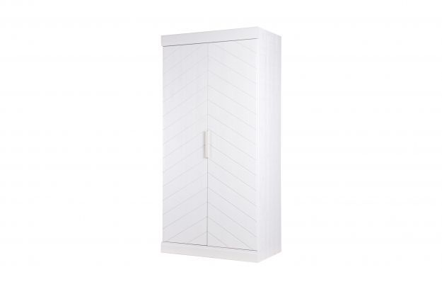 Connect - 2 drs - visgraat deur bezaagd grenen wit [fsc] | Kleding- & ladekasten | Slaapkamer | Woood