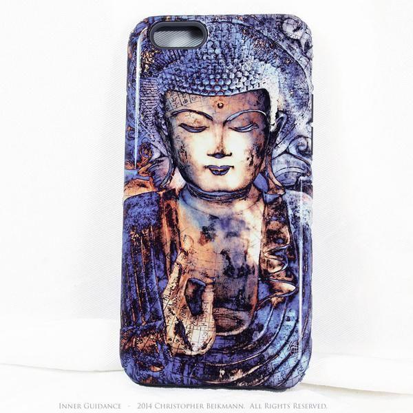 "Buddha iPhone 6 6s Case Inner Guidance – TOUGH model dual layer artisan iPhone 6 case. This unique blue Buddha iPhone 6 case features the original zen meditation artwork ""Inner Guidance"""
