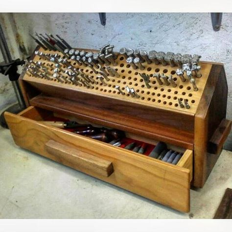 Found this on Pinterest and think it's really cool! No credit attached to the image . Please tag the owner if you know who this sweet tool box belongs to! #leather #leatherwork #leathercraft #leathergoods #leathertools #maker #craftsman #artist #leathersmith #altier #leatherworkbench #tooling #stamping #tandyleather #handcrafted #handsewn #handstitched #leathershop #craftool #barryking #alstohlman #csosborne #handmade #handtooled #workshop #leatherworkshop #workbench #vergezblanchard