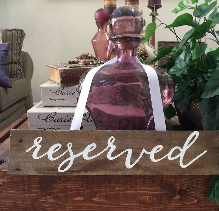 Rustic Wedding Sign, Reserved Wedding Sign, reserved chair, wedding sign, reserved table, reserved isle, hangs on chair or centerpiece, wood by CountryHeartCityGirl on Etsy https://www.etsy.com/listing/465862048/rustic-wedding-sign-reserved-wedding