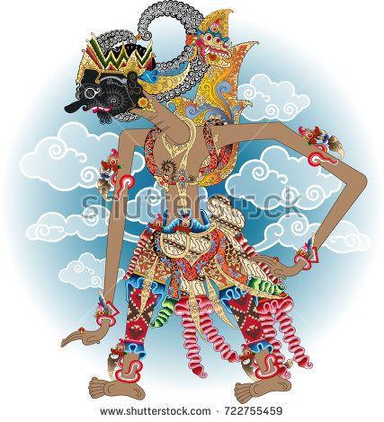 Vector illustration, gatutkaca shadow puppet character