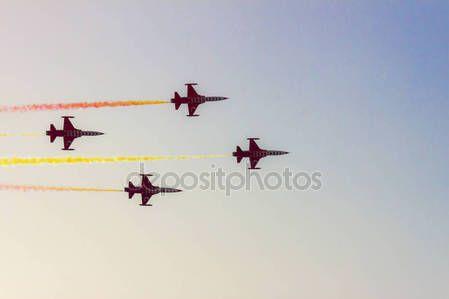 Turkish acrobatic aviation squadron flying over Izmir (Turkey)