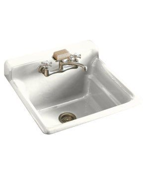 Bayview self-rimming utility sink with two-hole faucet drilling in backsplash and save.