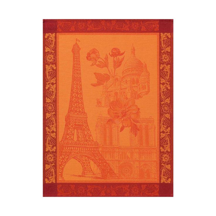 Torchon Paris en fleur Tournesol 60x80 100% coton - Torchons - La Cuisine - Le Jacquard Français