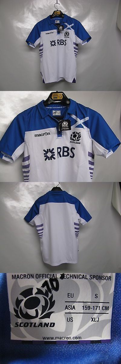 Rugby 21563: Nwt!!! Juniors Scotland Authentic Macron Rugby Team Jersey White Blue Xl!!! -> BUY IT NOW ONLY: $34.99 on eBay!