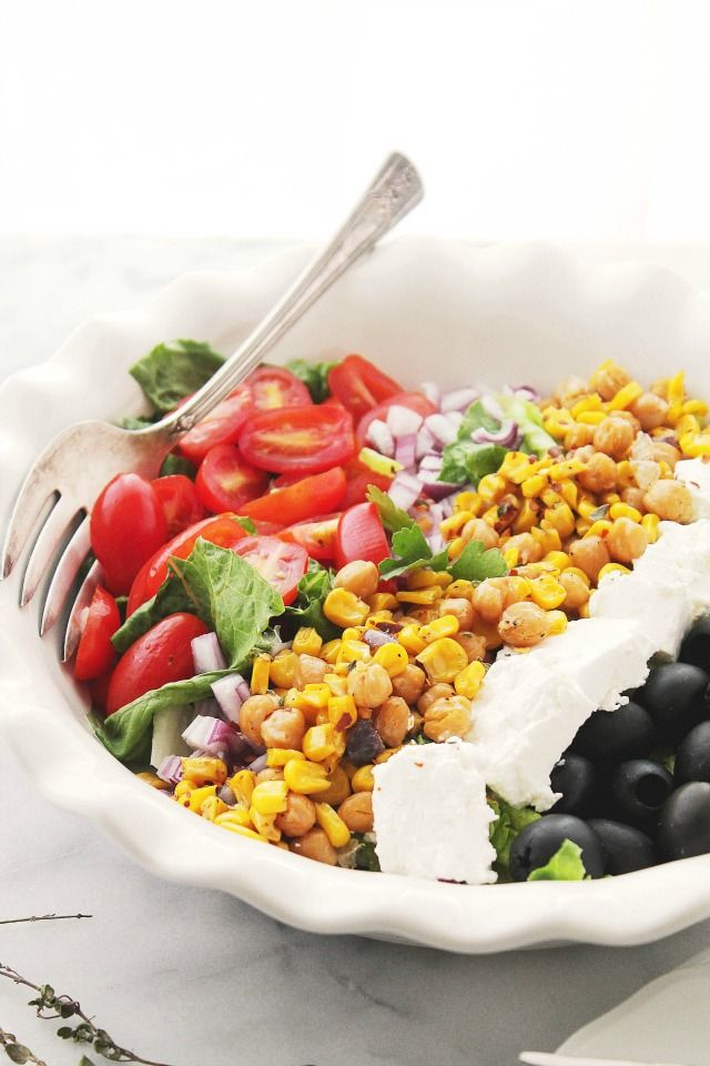 Mediterranean Salad with Sunshine Corn Diethood Roasted Sweet Corn Mediterranean Salad