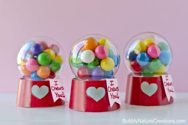 Mini Bubblegum Machine Valentines! {Tutorial} Made with a paper cup and a plastic ball ornament... Super cute!