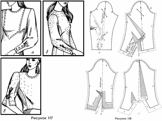 Variety Of Pattern Drafts On How To Sew And Assemble Different Sleeve Types. From http://www.modnaya.ru/library/001/051.htm