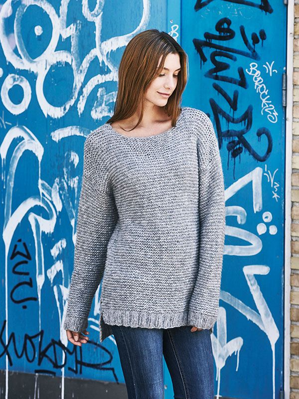 3889bdbc Strikkeopskrift på nem, retstrikket sweater | Lill | Sweaters ...