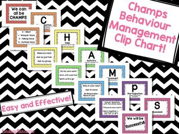 CHAMPS Behavior Management Clip Chart - a perfect way to show your students the expectations for each activity they are working on. $