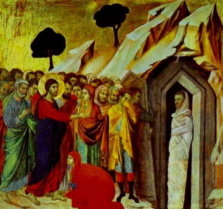 """""""The Raising of Lazarus"""" [Detail of the Maestà Altarpiece] -- Circa 1308-11 -- Duccio di Buoninsegna -- Italian -- Tempera & gold on panel -- Museo dell'Opera del Duomo, Siena, Italy."""
