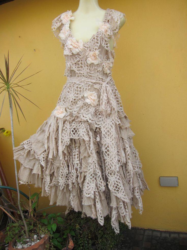 vintage inspired shabby bohemian gypsy dress....shabby cotton,roses and crochet lace.... $225.00, via Etsy.
