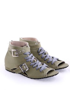 Sepatu Wanita Flat Open Toe Olive Bertali - HR217