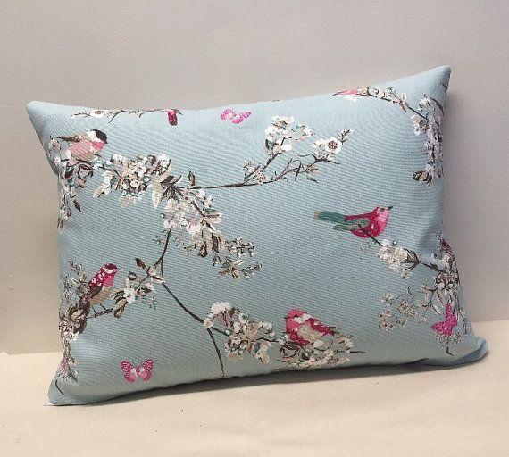 Bird Cushion Cover Duck Egg Blue Cushion Cover