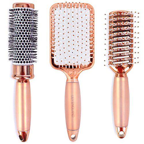 Luxueux set de brosses à cheveux or rose Lily England – Coffret cadeau composé de brosses à cheveux de qualité professionnelle pour tous…