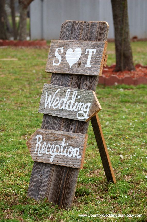 Wedding Sign Self Standing Indoor Wedding Reception Signs Rustic Country Wedding Sign Reception Decorations Ceremony Signage Barnwood Heart on Etsy, $75.00