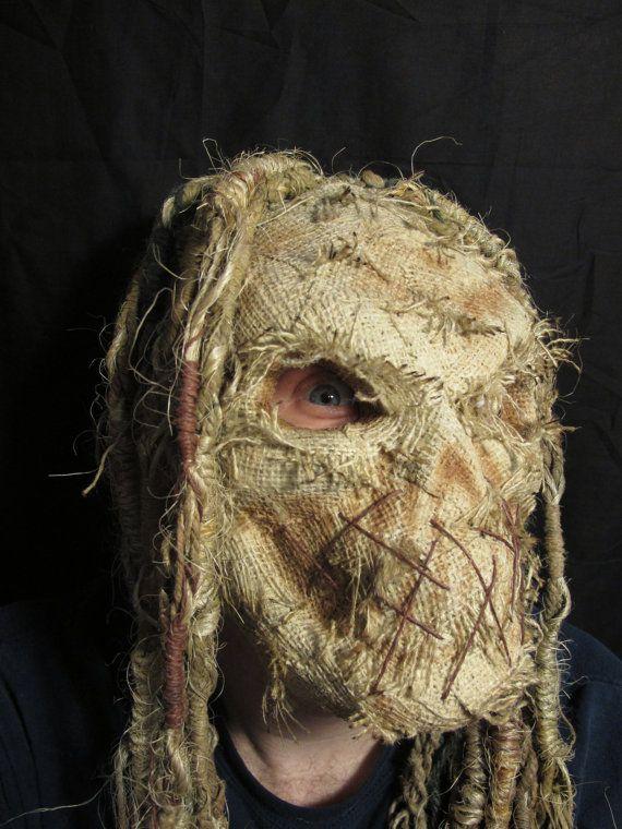 Handmade Burlap Scarecrow Latex Halloween Mask 3/4 Head with Dreads -- gah