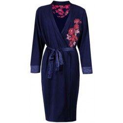 Donkerblauwe dames badjas met opvallende rode bloemenpint