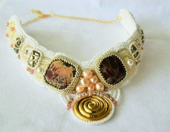 Unique bead embroidered necklace. Cream, white and gold, perfect for formal evenings, weddings, or to wear every day. Made using: - Quality stones