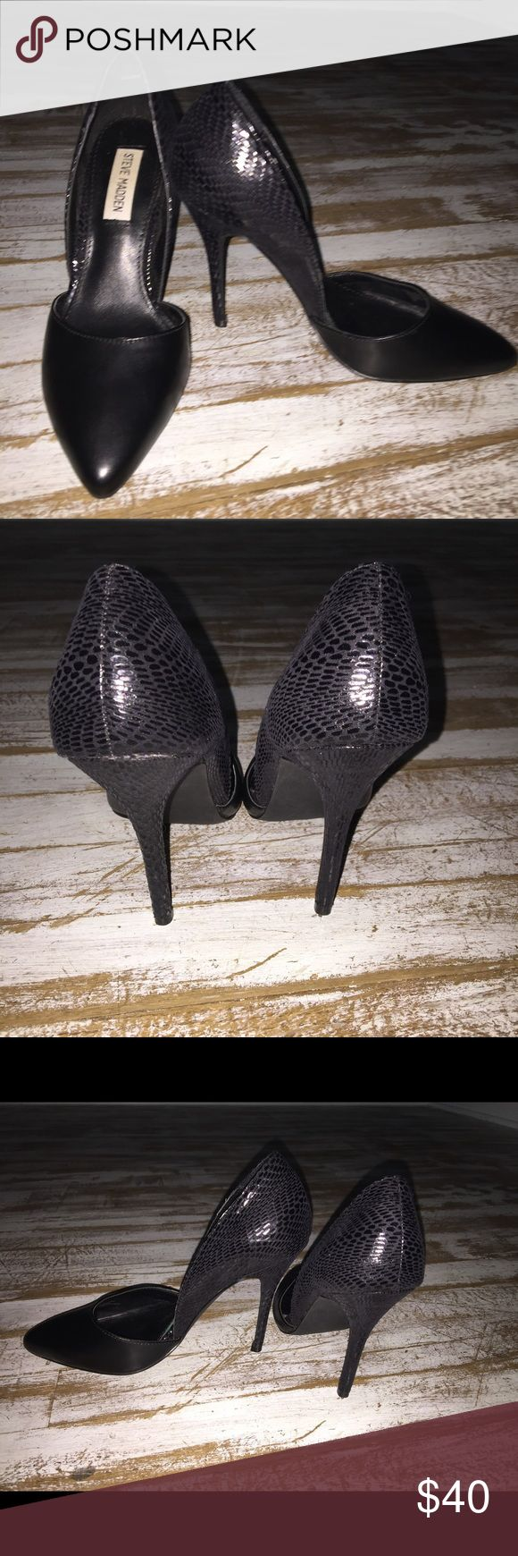 Like new, size 6.5, Steve Madden heels Sexy pair of Steve Madden, 4 inch heels with a leather toe and snake skinny heel. These are like new. Make me an offer. Steve Madden Shoes Heels