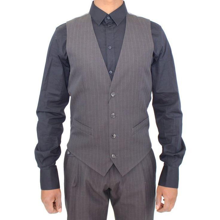 Dolce & Gabbana Gray Striped Formal Dress Vest