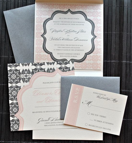 Pink and grey wedding invites with a lot of spunk! Invites from By Invitation Only