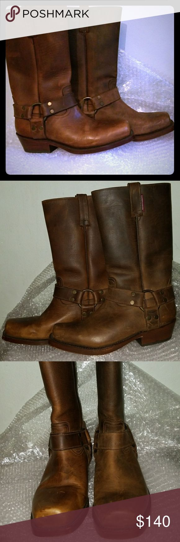 Marlboro Classics harness boots 41 EE Thick durable leather upper. Side pull tabs. Sturdy heel. Made in Mexico. Marked 41 EE. Heels are resoled. Marlboro Shoes Combat & Moto Boots