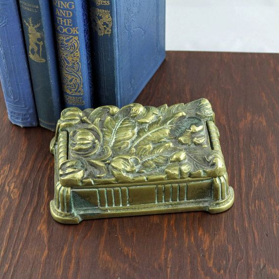 Antique Brass Jewelry Box  Art Deco Cigarette by LoAndCoVintage