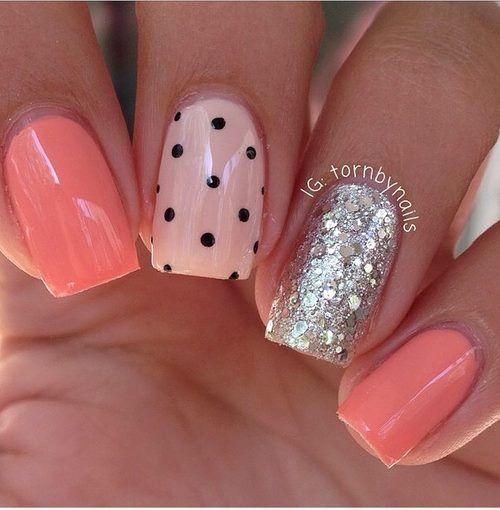 Coral... nude rosado...glitter plata y puntos negros ...