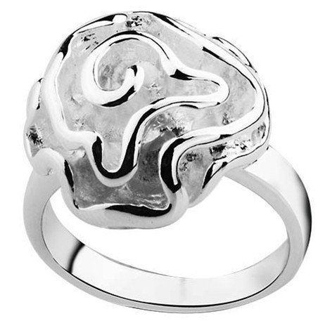 MANILAI Silver Plated Fashion Rings romantic Rose flower rings fashion jewelry R005