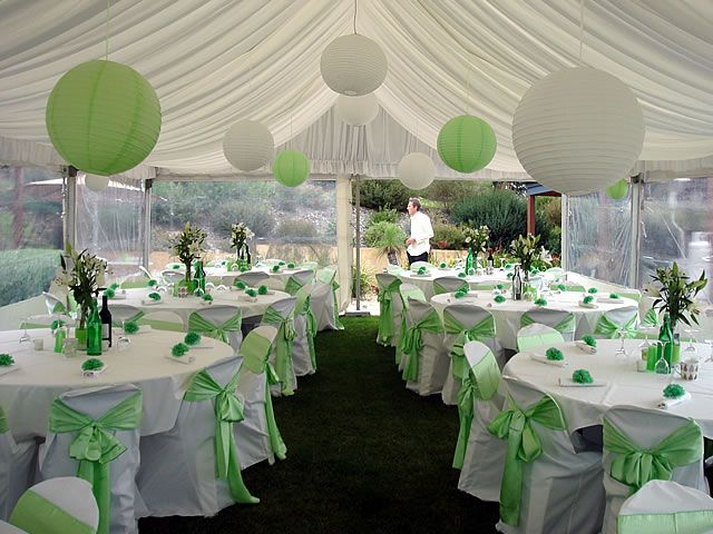 Winter indoor wedding decoration idea using green and for Indoor marquee decoration