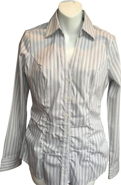 e0a59460 Express White with Black and Gray Stripes Essential Stretch Blouse Size 4  (S).