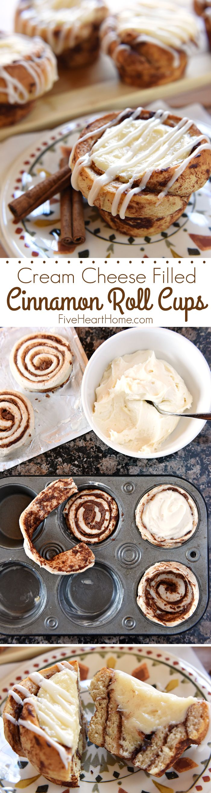 Cream Cheese Filled Cinnamon Roll Cups ~ fit refrigerated cinnamon rolls in a muffin pan, fill with sweetened cream cheese, bake until golden, and then drizzle with icing for a fun, easy, special breakfast treat! | FiveHeartHome.com