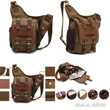 Mens Boys Vintage Canvas Leather Shoulder Military Messenger Briefcases MXS Bag