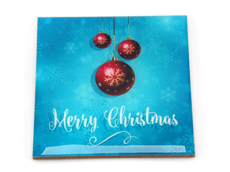 Merry Christmas Red Tree Balls Drink Coaster Unique Gift MDF Wood by Osarix