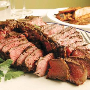 Sizzling Steak Recipes for the Grill    Simply Great Steak with Grilled Fries   MyRecipes.com