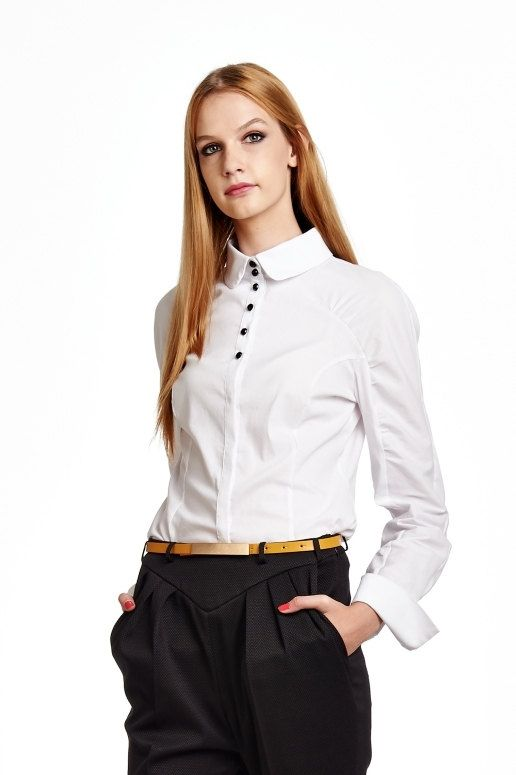 White button-down shirt with black buttons by RailiNolvak on Etsy