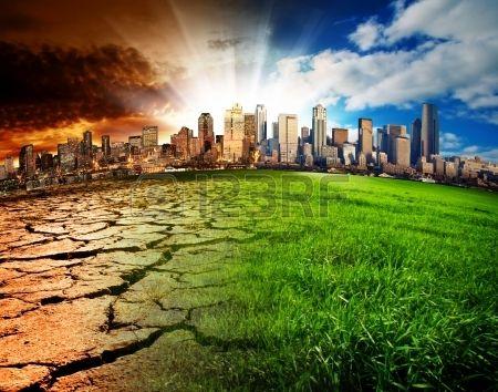 Une ville montrant l effet du changement climatique Banque d'images