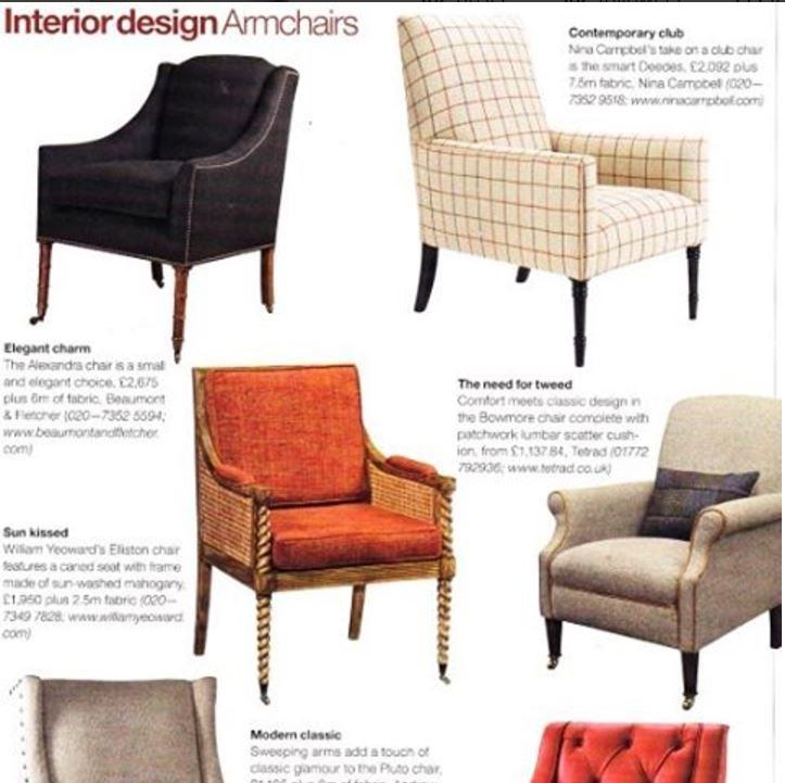 Our Alexandra Chair (top left) featuring in May's 2017 Country Life magazine. A beautiful armchair with classical proportions and clean lines.