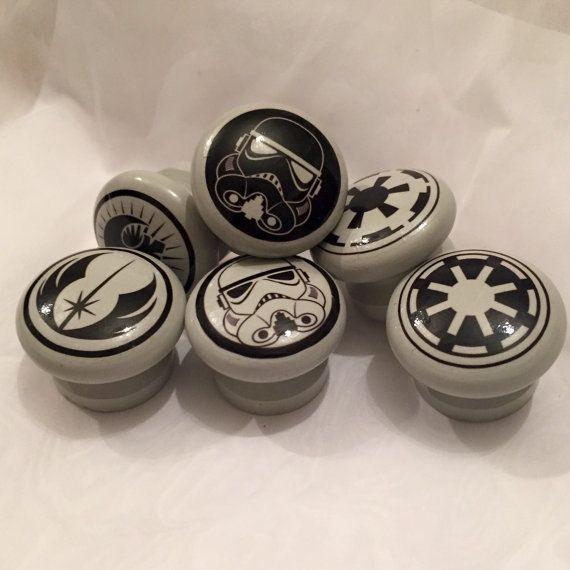 Set of Six Star Wars Logo Door Drawer Dresser Knobs Pulls Handles,