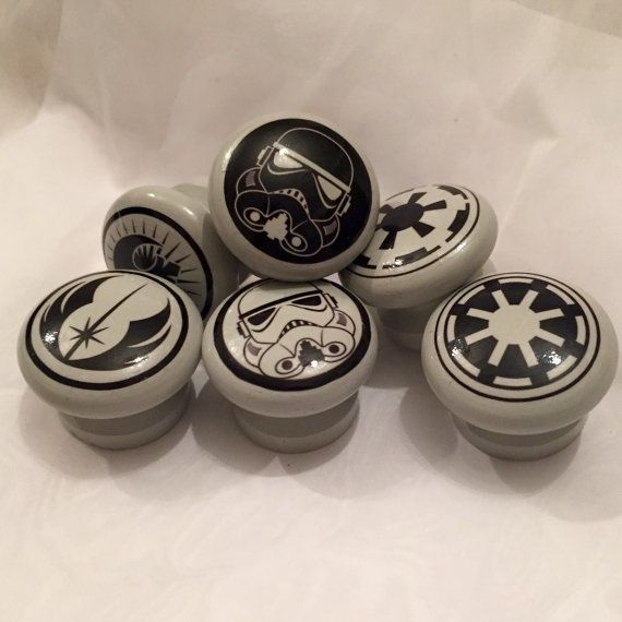 Set of Six Star Wars Logo Door Drawer Dresser Knobs Pulls Handles,