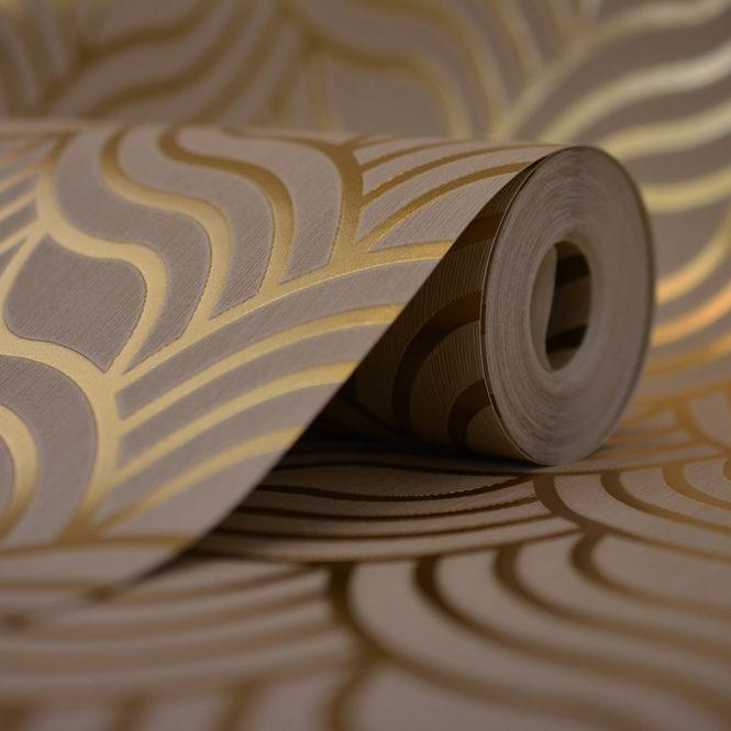 Muriva Precious Silks Art Deco Wallpaper Beige / Gold (601534) - Wallpaper from…