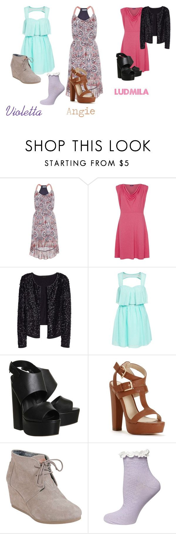"""Dress: Violetta, Angie and Ludmila"" by idapolyvore ❤ liked on Polyvore featuring maurices, HotSquash, Oneness, Office, TOMS, Dorothy Perkins, women's clothing, women, female and woman"
